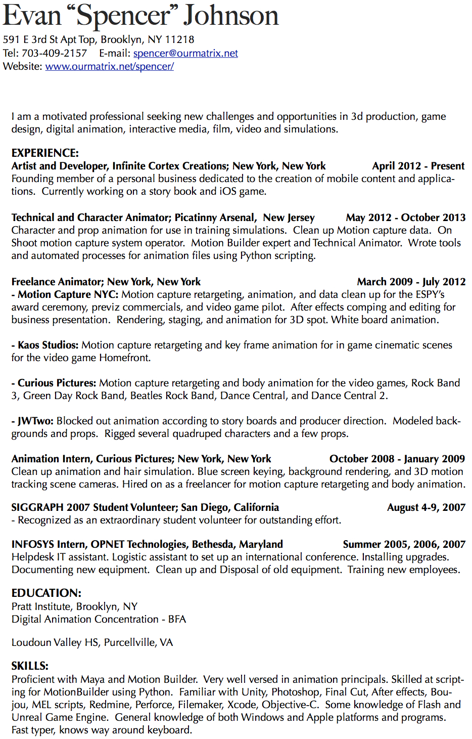 Animator Resume / Sales / Animator - Lewesmr